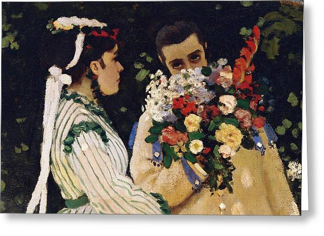 Conversations Greeting Cards - Women in the Garden Greeting Card by Claude Monet