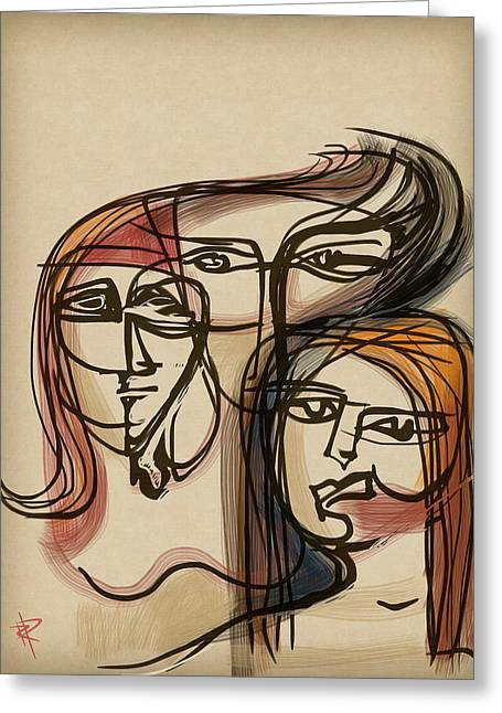 Personality Mixed Media Greeting Cards - 3 Women Greeting Card by Russell Pierce