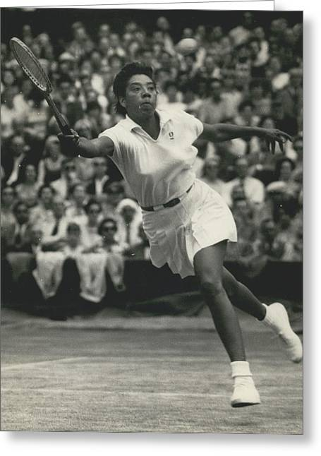 Retro Photography Greeting Cards - Women's Singles Semi-finals At Wimbledon. Althea Gibson Beats Ann Haydon Greeting Card by Retro Images Archive