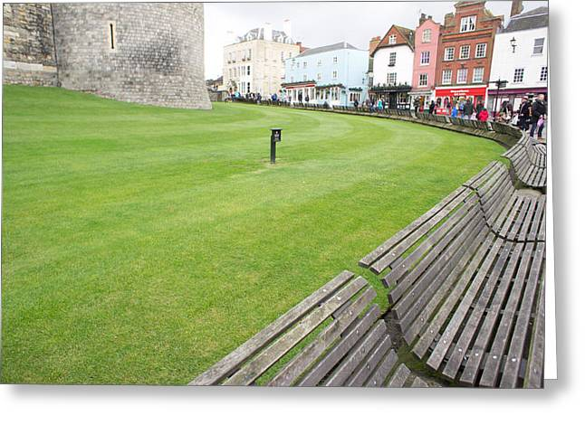 Convenience Greeting Cards - Wooden benches Greeting Card by Tom Gowanlock