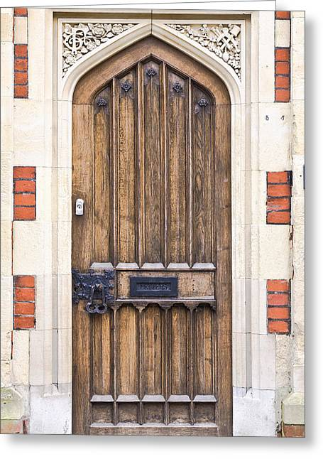 Entryway Photographs Greeting Cards - Wooden door Greeting Card by Tom Gowanlock