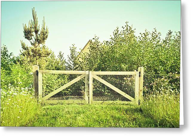 Warm Weather Greeting Cards - Wooden gate Greeting Card by Tom Gowanlock