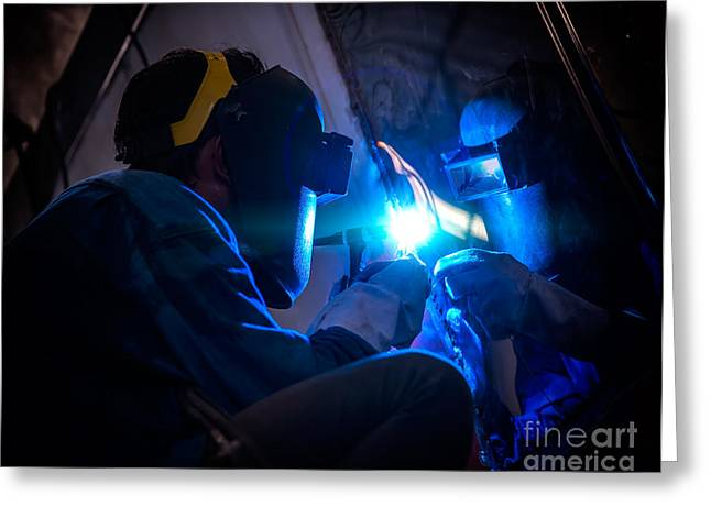 Industrial Background Greeting Cards - Worker welding  Greeting Card by Anek Suwannaphoom