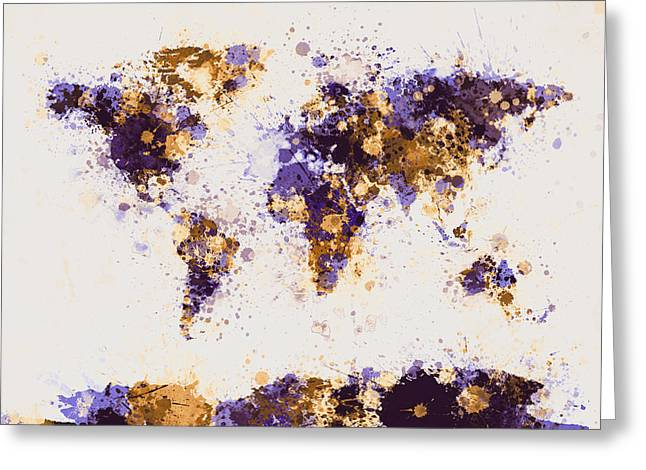 Colourfull Greeting Cards - World Map Paint Splashes Greeting Card by Michael Tompsett