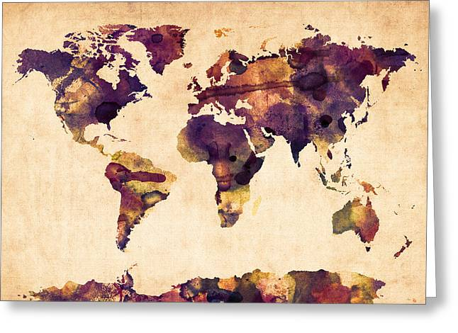 Maps Globes Greeting Cards - World Map Watercolor Greeting Card by Michael Tompsett