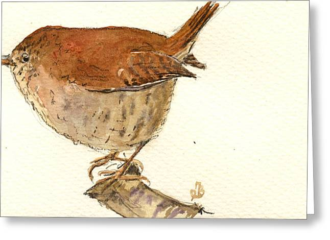 Wren Bird Greeting Card by Juan  Bosco