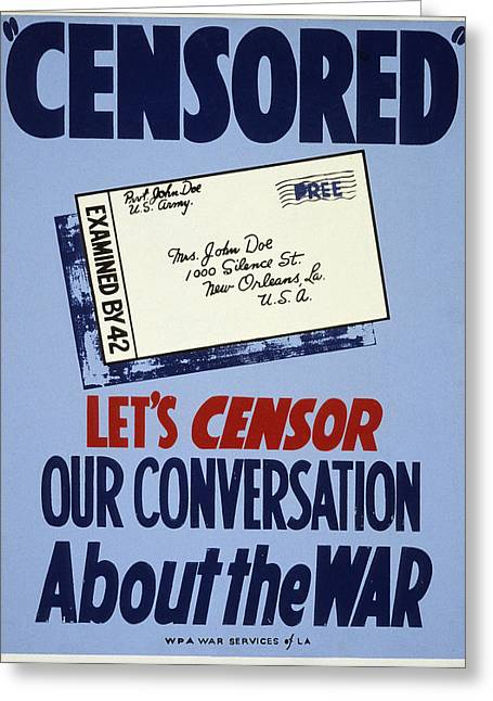 Careless Talk Greeting Cards - Wwii: Careless Talk Poster Greeting Card by Granger