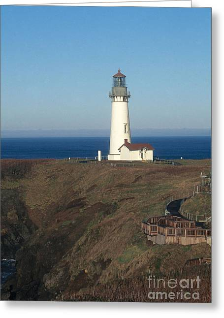 Yaquina Bay Lighthouse Greeting Cards - Yaquina Head Lighthouse Greeting Card by Bruce Roberts