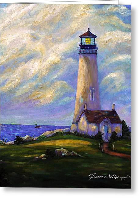 Yaquina Head Lighthouse Oregon Greeting Card by Glenna McRae