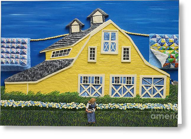 Grass Sculptures Greeting Cards - Yellow Barn Greeting Card by Anne Klar