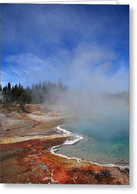 Yellowstone Park Geyser Greeting Card by Frank Romeo