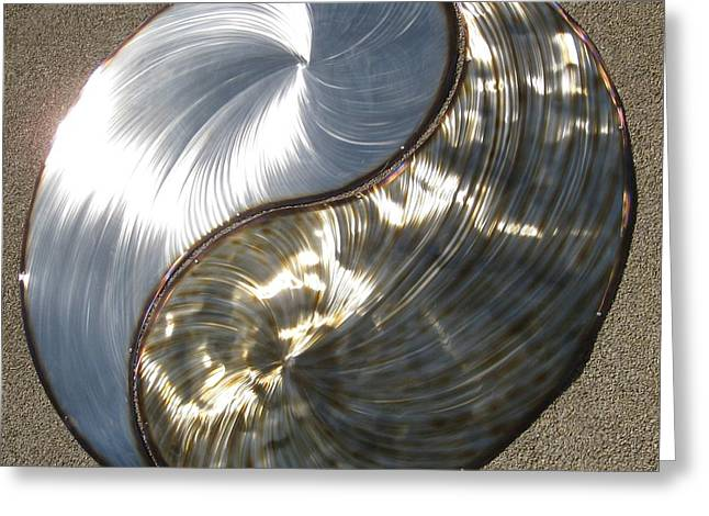 Stainless Sculptures Greeting Cards - Yin Yang Greeting Card by Rick Roth
