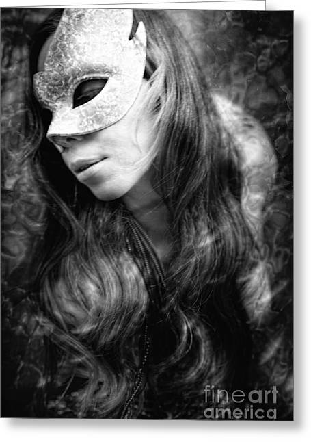 Cosplay Photographs Greeting Cards - Young Woman Wearing Masquerade Mask In Dream Sequence Greeting Card by Joe Fox
