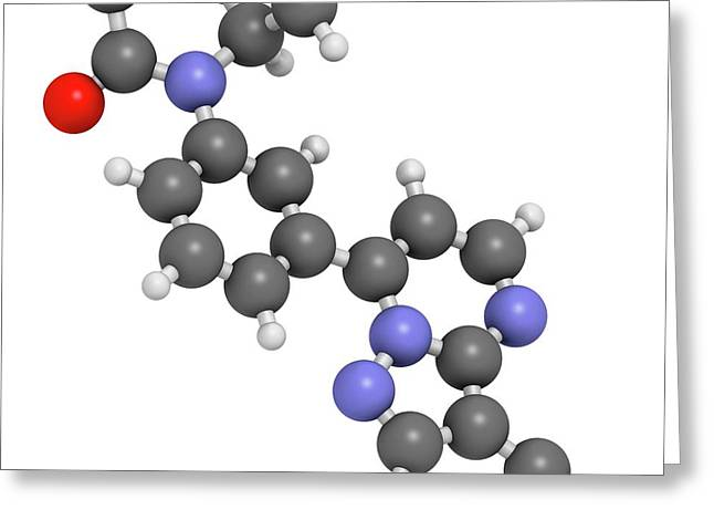 Zaleplon Hypnotic Drug Molecule Greeting Card by Molekuul