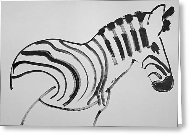 Serengeti Africa Drawing Greeting Cards - Zebra Greeting Card by Charles Stuart
