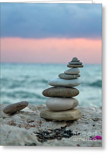 Seascape Art Greeting Cards - Zen Greeting Card by Stylianos Kleanthous