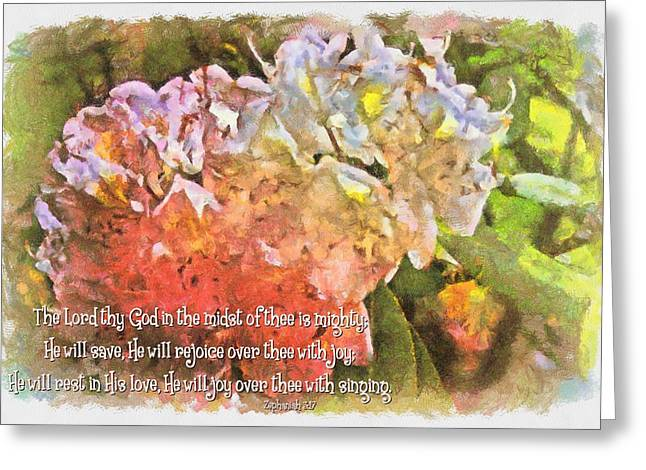 Floral Digital Art Greeting Cards - Zephaniah 3 17 Greeting Card by Michelle Greene Wheeler