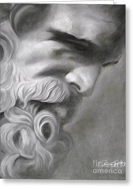 Jacksonville Drawings Greeting Cards - Zeus Greeting Card by Adrian Pickett