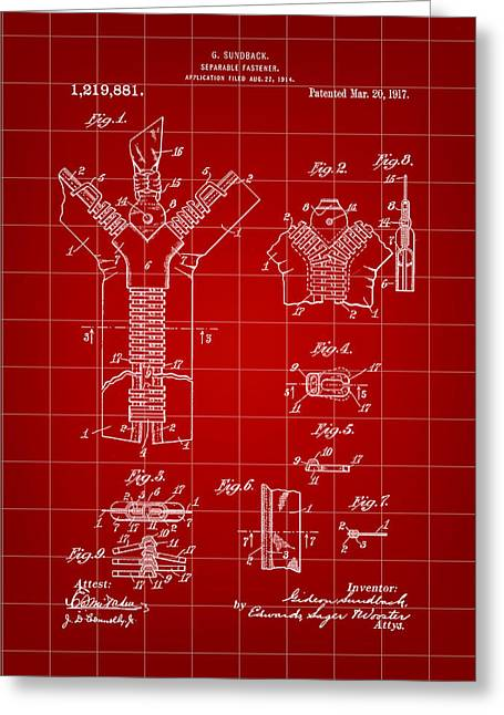 Zipper Greeting Cards - Zipper Patent 1914 - Red Greeting Card by Stephen Younts
