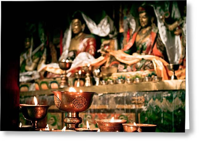 Milarepa Greeting Cards - ZUTHRUL PHUG MONASTERY Milarepas Cave Greeting Card by Raimond Klavins
