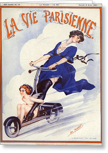 Posters Greeting Cards - 1920s France La Vie Parisienne Magazine Greeting Card by The Advertising Archives