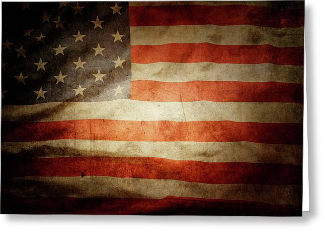 Celebrate Greeting Cards - American flag  Greeting Card by Les Cunliffe