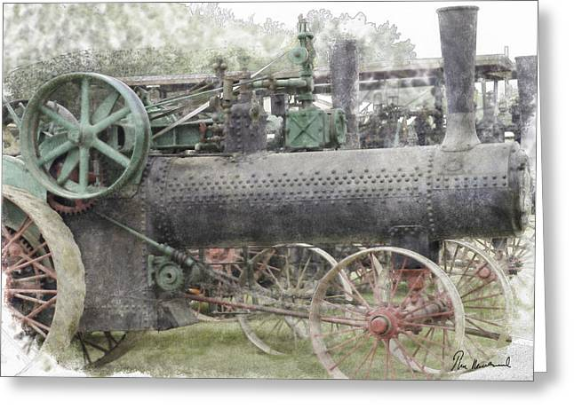 Iron Pastels Greeting Cards - Antique Tractor Greeting Card by Tim Mulholland