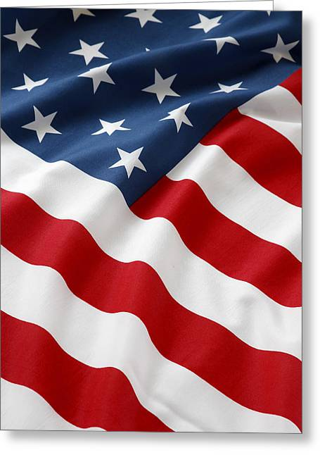 Ruffled Greeting Cards - USA flag Greeting Card by Les Cunliffe