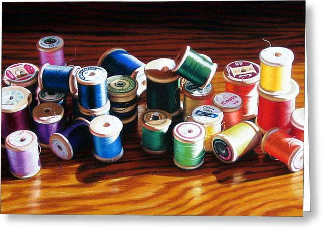 Thread Pastels Greeting Cards - 30 Wooden Spools Greeting Card by Dianna Ponting