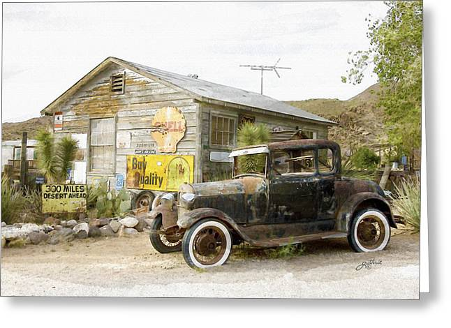Rusted Cars Mixed Media Greeting Cards - 300 Miles of Desert Greeting Card by John Guthrie