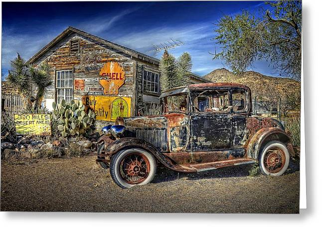 Shell Sign Greeting Cards - 300 Miles of Desert Greeting Card by Ken Smith