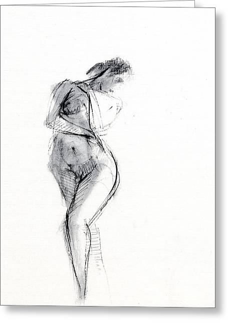 Nudes Drawings Greeting Cards - RCNpaintings.com Greeting Card by Chris N Rohrbach