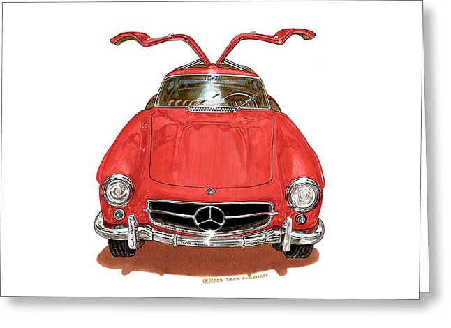 1955 Paintings Greeting Cards - 300 S L Gull Wing Mercedes Benz Greeting Card by Jack Pumphrey