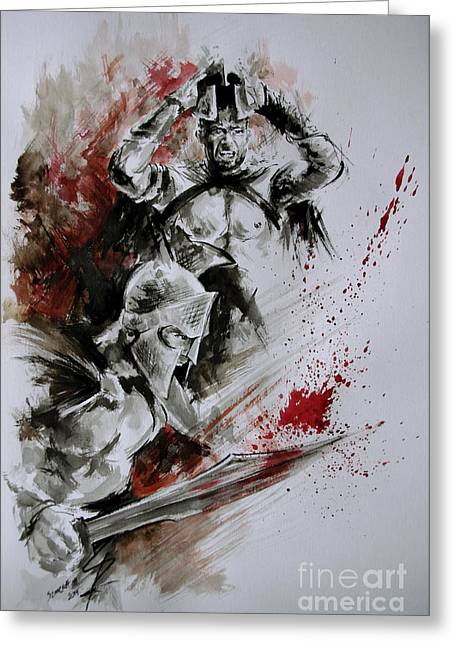 Frank Miller Greeting Cards - 300 Spartan - death and glory. Greeting Card by Mariusz Szmerdt