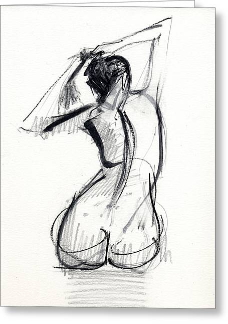 Nude Drawings Drawings Greeting Cards - RCNpaintings.com Greeting Card by Chris N Rohrbach