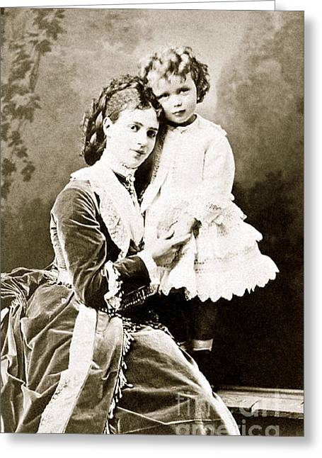 Tsar Alexander Greeting Cards - 308. Tsarevna Maria Feodorovna and her son Grand Duke Nicholas Alexandrovich 1871 Print Greeting Card by Royal Portraits