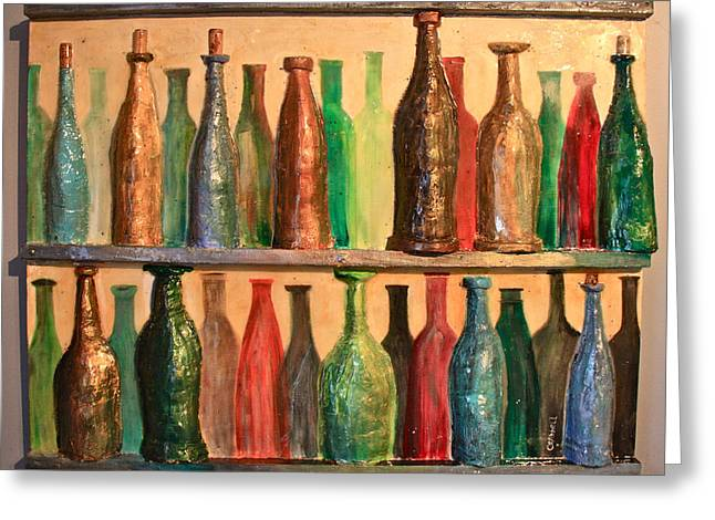 Winemaking Paintings Greeting Cards - 31 Bottles Greeting Card by Mark Prescott Crannell