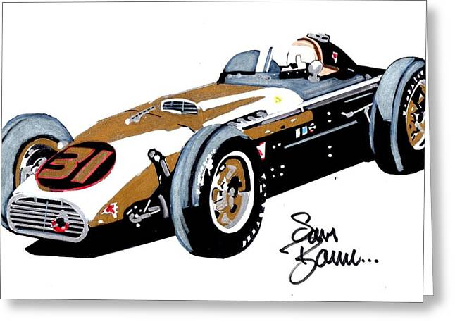 Indy Car Drawings Greeting Cards - 31  Greeting Card by Sam Barrese