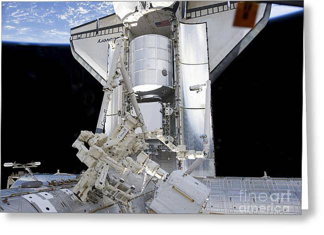 Dexterous Greeting Cards - Space Shuttle Discovery Greeting Card by Stocktrek Images