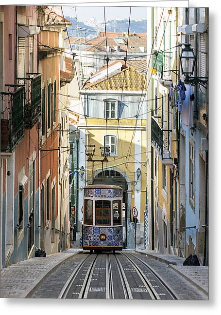 The Bica Funicular Greeting Card by Andre Goncalves