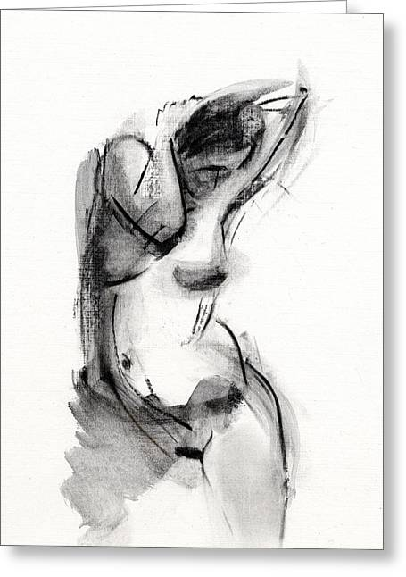 Figure Drawing Mixed Media Greeting Cards - RCNpaintings.com Greeting Card by Chris N Rohrbach