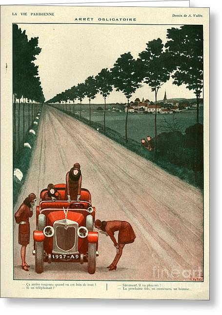 Vallee Greeting Cards - 1920s France La Vie Parisienne Magazine Greeting Card by The Advertising Archives
