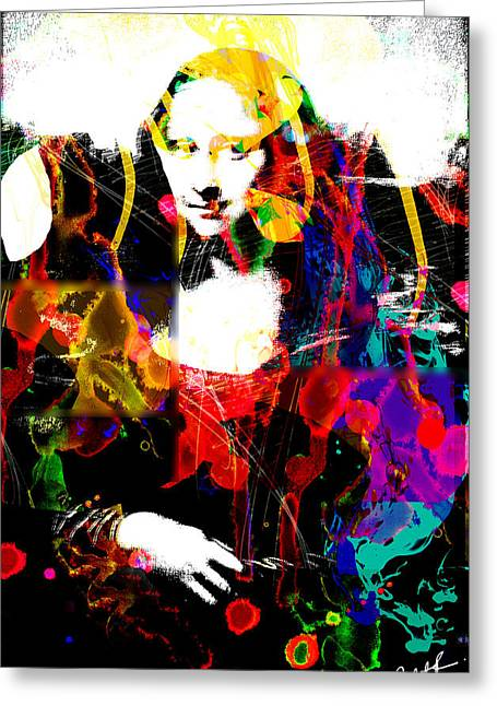 Splashy Art Greeting Cards - 31x48 Mona Lisa Screwed - Huge Signed Art Abstract Paintings Modern www.splashyartist.com Greeting Card by Robert R Abstract Paintings