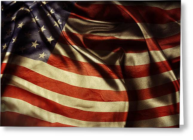 Ripples Greeting Cards - American flag  Greeting Card by Les Cunliffe