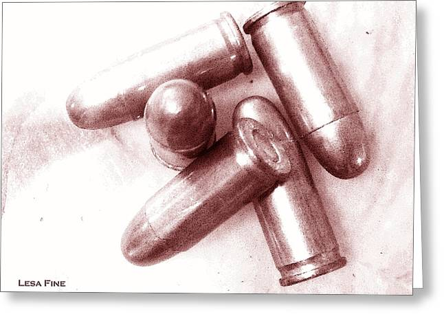Bullet Greeting Cards - Bullet Art - 32 Caliber Bullets_1 Greeting Card by Lesa Fine
