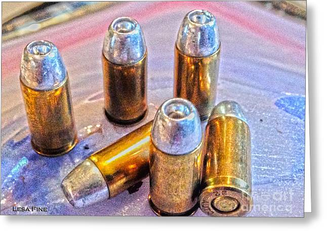 Bullet Greeting Cards - 32 Caliber Hollow Points 1B HDR GOLD Greeting Card by Lesa Fine