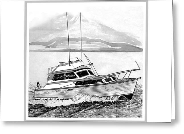 32 foot Pacemaker Sportsfisher Greeting Card by Jack Pumphrey
