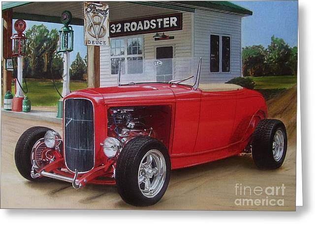 Ford Custom V8 Greeting Cards - 32 Ford at filling station Greeting Card by Paul Kuras