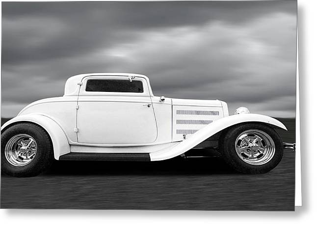 Monochrome Hot Rod Greeting Cards - 32 Ford Deuce Coupe in Black and White Greeting Card by Gill Billington