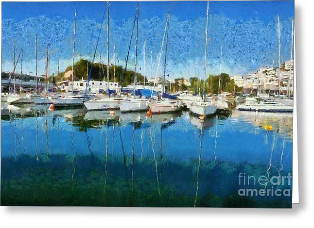 Reflections In Mikrolimano Port Greeting Card by George Atsametakis